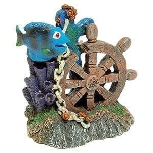 AQ Ships Wheel wth Reef&Fish 12x7.5x13.5cm AQ61899
