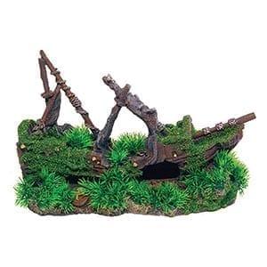 AQ Shipwreck with Grass 30 x 14 x 21cm AQ62524