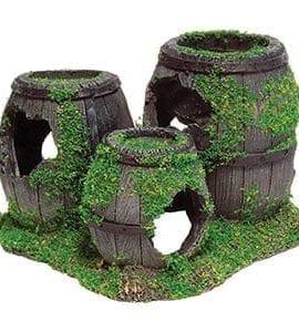 AQ Sunken Barrels with Moss 16x13x9.5cm AQ62579
