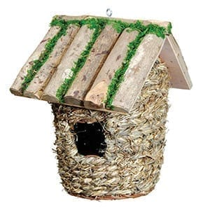 GD Bird house Large Wood & Raffia Box NB1607